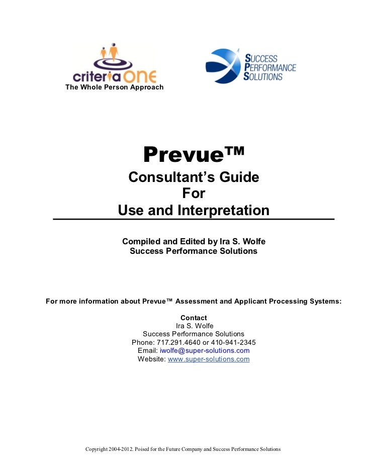 Prevue Guide Book: Hiring Workbook for consultants, HR, and  managers