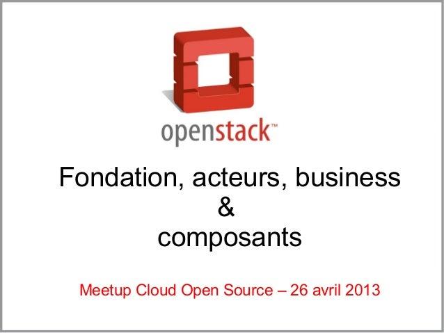 Fondation, acteurs, business&composantsMeetup Cloud Open Source – 26 avril 2013