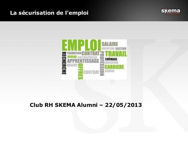 La sécurisation de l'emploiClub RH SKEMA Alumni – 22/05/2013mploi