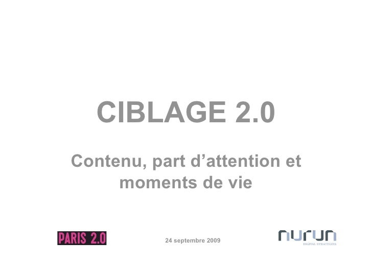CIBLAGE 2.0 Contenu, part d'attention et      moments de vie              24 septembre 2009