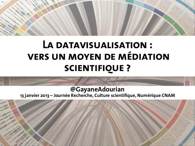 La datavisualisation:   vers un moyen de médiation          scientifique?                       @GayaneAdourian13 janvie...