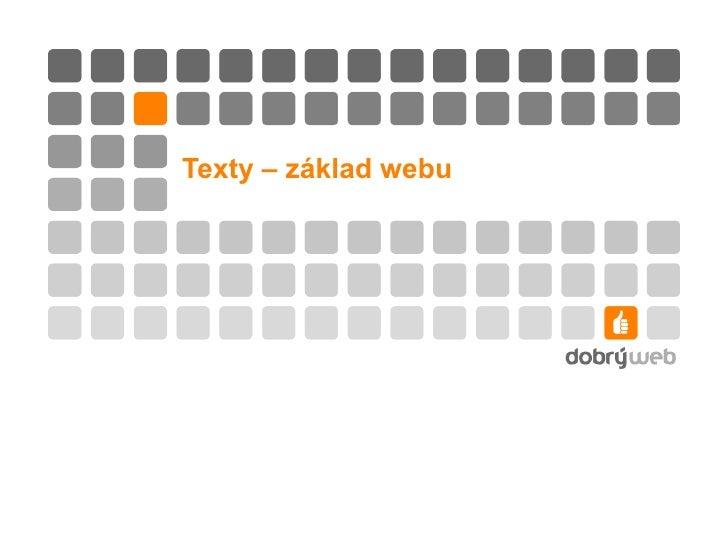 Copywriting - texty základ webu