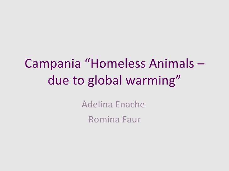 "Campania ""Homeless Animals – due to global warming"" Adelina Enache  Romina Faur"
