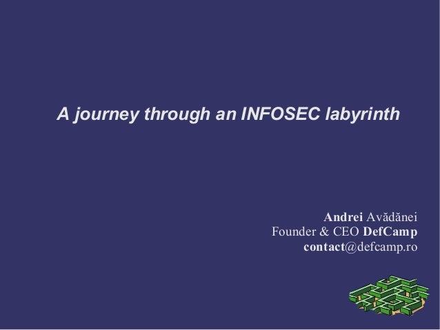 A journey through an INFOSEC labyrinth                               Andrei Avădănei                       Founder & CEO D...