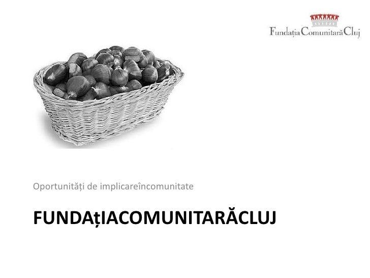 FundațiaComunitarăCluj<br />Oportunități de implicareîncomunitate<br />