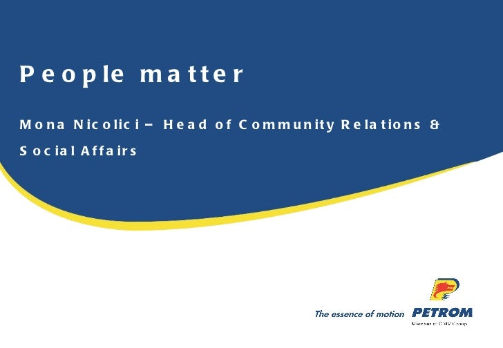 People matter Mona Nicolici – Head of Community Relations & Social Affairs