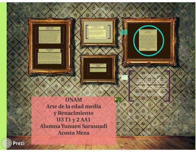 """Arte de la edad media y Renacimiento U3 T1 y 2 AAl Alumna Yunuen Sarasuadi Acosta Meza  'u' v 1.: .) 'vw_- ' '  """": '«Ï """" 'v"""