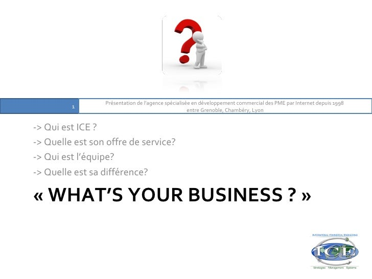 «WHAT'S YOUR BUSINESS ?» <ul><li>-> Qui est ICE ?  </li></ul><ul><li>-> Quelle est son offre de service?  </li></ul><ul>...