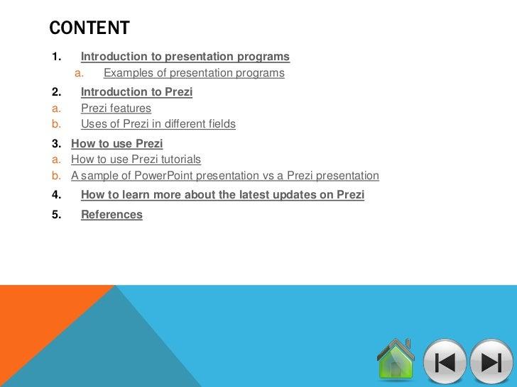 Programs for presentations