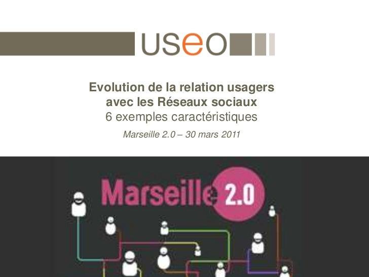 Evolution de la relation usagers avec les Réseaux sociaux6 exemples caractéristiques<br />Marseille 2.0 – 30 mars 2011<br />