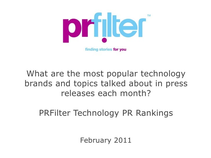 PRFilter Technology PR Rankings February 2011