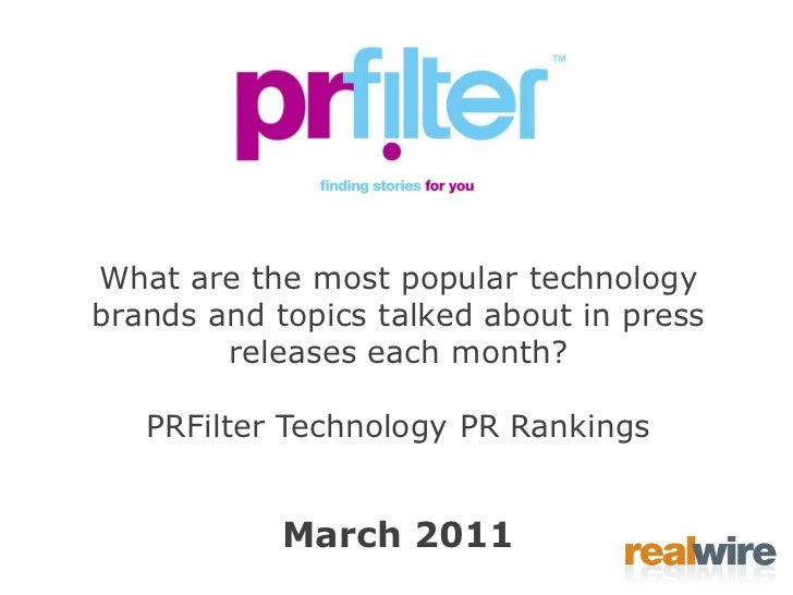 PRFilter Technology PR Rankings March 2011