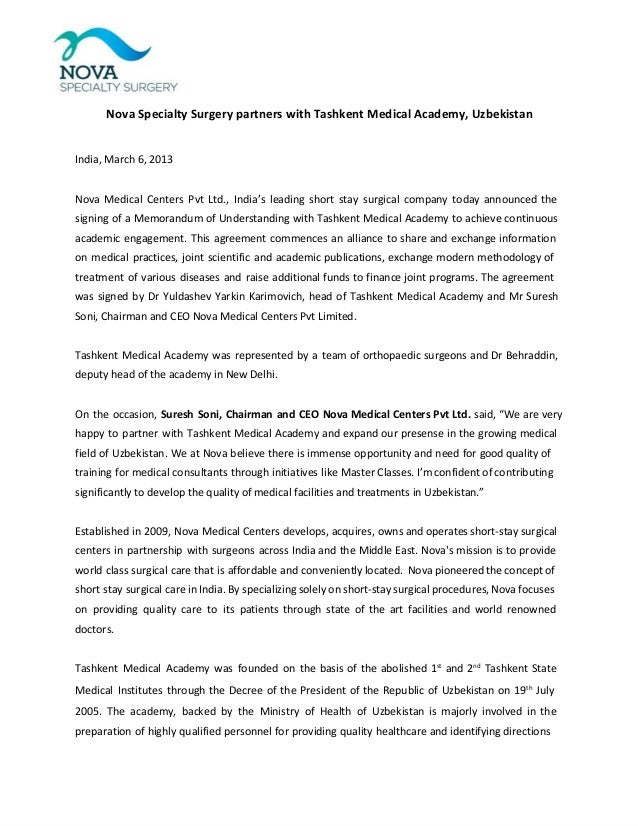Nova Specialty Surgery partners with Tashkent Medical Academy, Uzbekistan  India, March 6, 2013 Nova Medical Centers Pvt L...