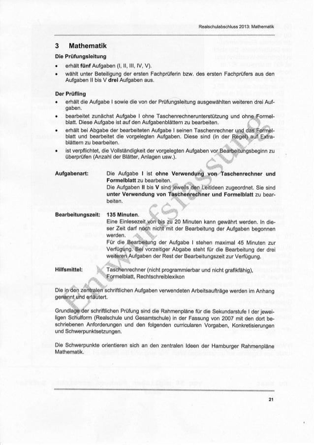 Realschulabschluss 2013: Mathematik3    MathematikDie Prüfungsleitungo   erhältfünf Aufgaben (1, ll, lll, lV, V).o   wählt...