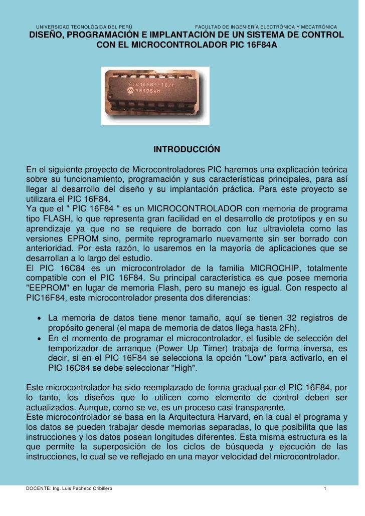 UNIVERSIDAD TECNOLÓGICA DEL PERÚ           FACULTAD DE INGENIERÍA ELECTRÓNICA Y MECATRÓNICA DISEÑO, PROGRAMACIÓN E IMPLANT...
