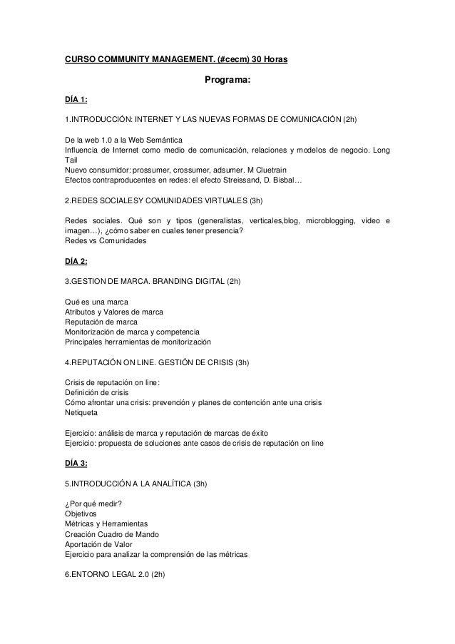 Programa, profesores y agenda curso cecm 16 abril 2013