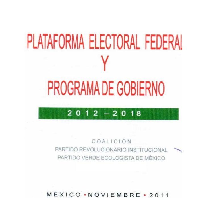 Plataforma política del PRI - Verde 2012 - 2018