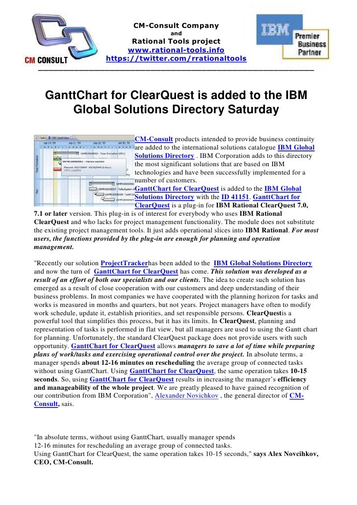 """GanttChart for ClearQuest is added to the IBM Global Solutions Directory Saturday HYPERLINK """" http://rational-tools.info/c..."""
