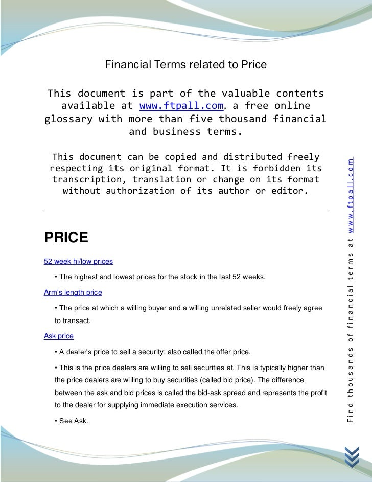 Financial Terms related to Price This document is part of the valuable contents   available at www.ftpall.com, a free onli...