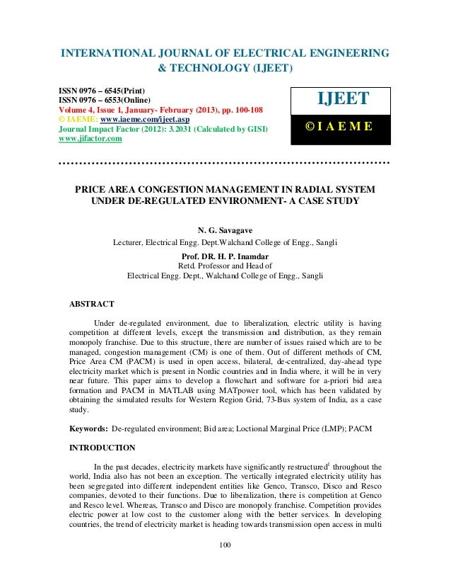 Price area congestion management in radial system under de regulated environment