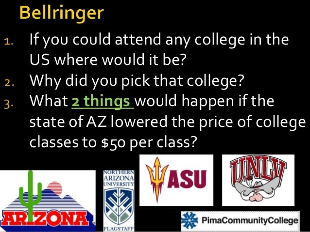 1. If you could attend any college in the US where would it be? 2. Why did you pick that college? 3. What 2 things would h...
