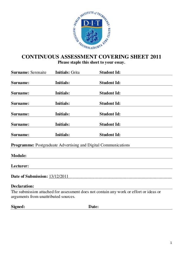 CONTINUOUS ASSESSMENT COVERING SHEET 2011                          Please staple this sheet to your essay.Surname: Serenai...