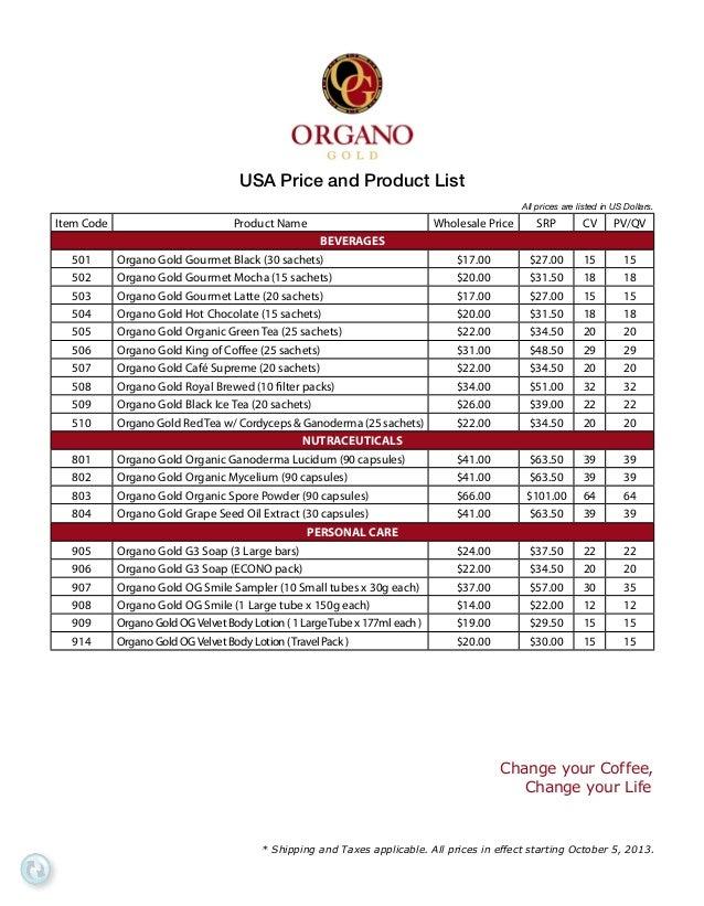 Organo Gold Los Angeles   Price List