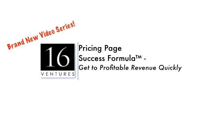 Pricing Page Success Formula