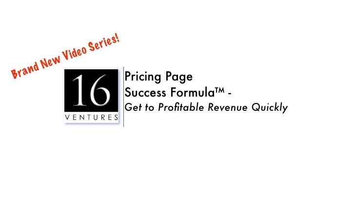 Pricing Page Success Formula