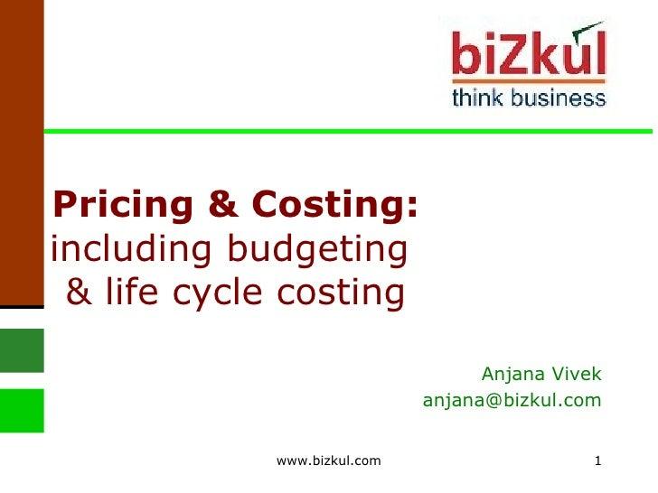 Pricing & Costing:  including budgeting  & life cycle costing Anjana Vivek [email_address] www.bizkul.com
