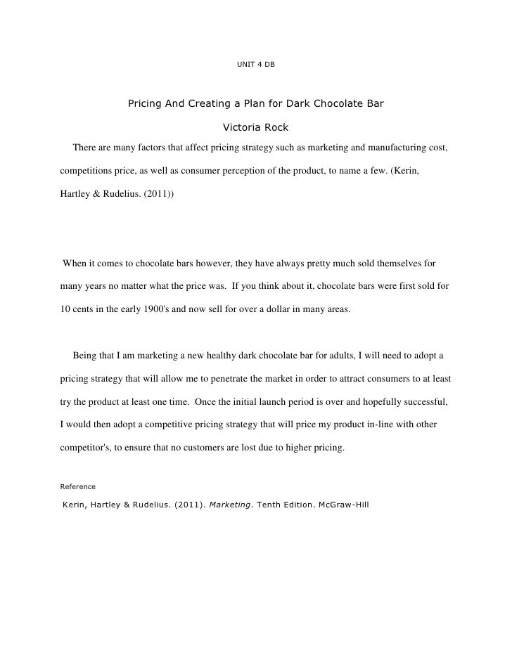 Pricing and creating a plan for dark chocolate bar