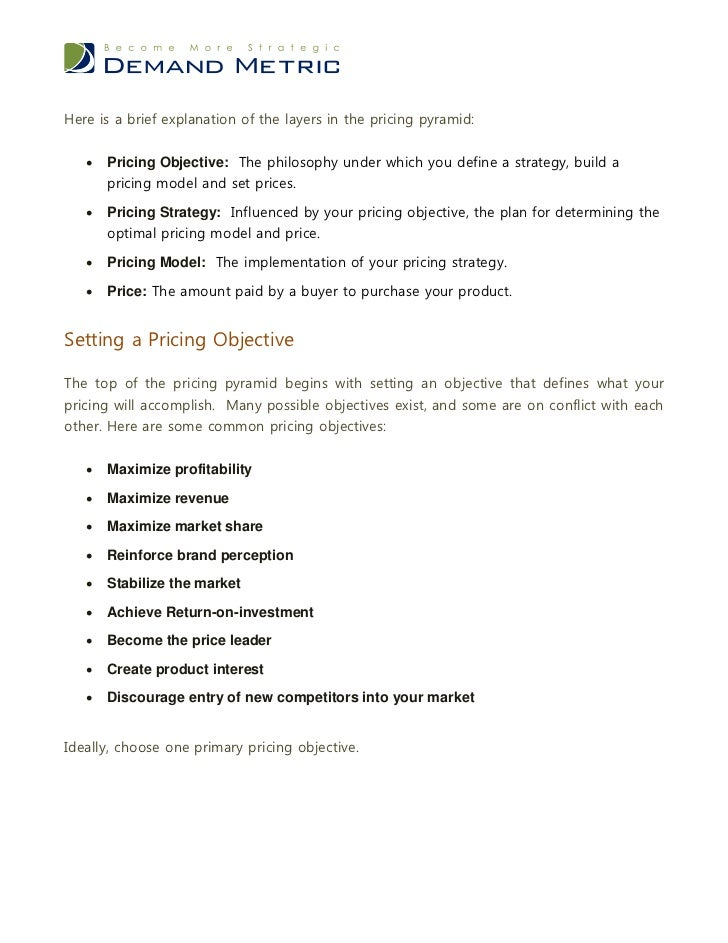 Pricing Strategy Model Pricing Strategy