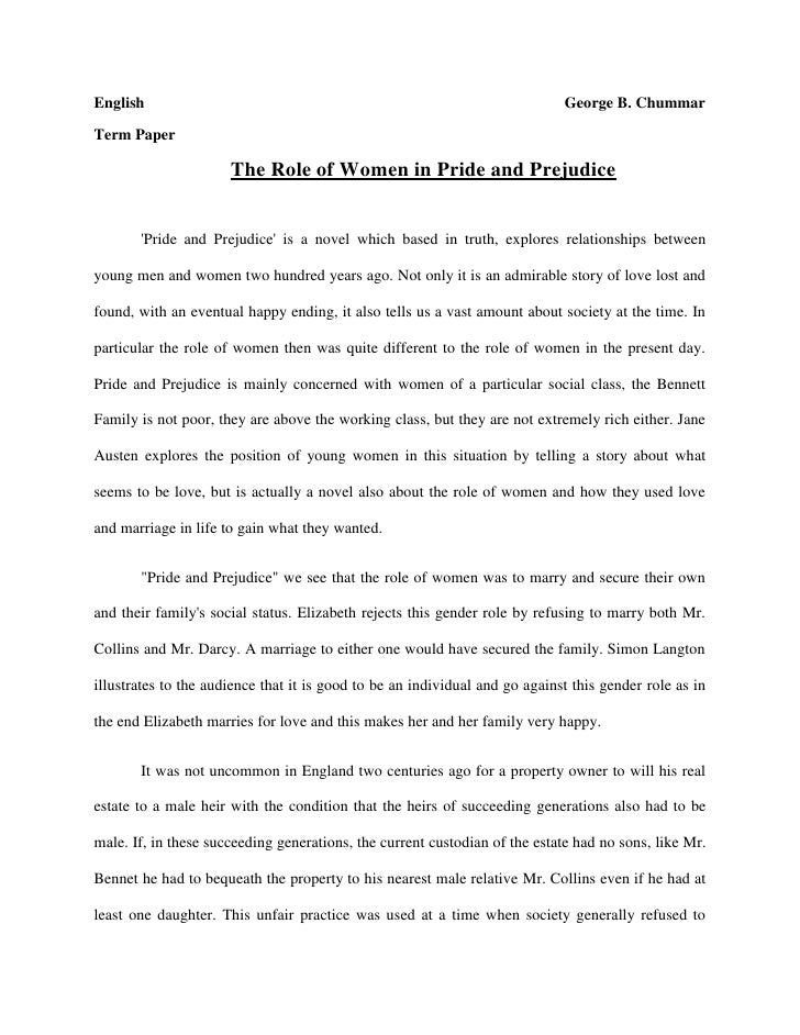 Free pride and prejudice Essays and Papers