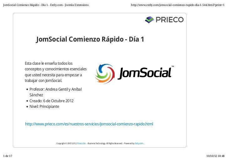 JomSocial Comienzo Rápido / Formación Joomla