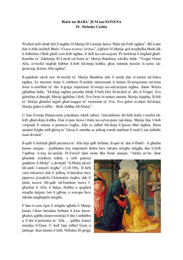 """Ħsieb tar-RABA' JUM tan-NOVENA Fr. Nicholas Cachia Wieħed mill-isbaħ titli li nagħtu lil Marija fil-Litanija huwa """"Bidu ta..."""