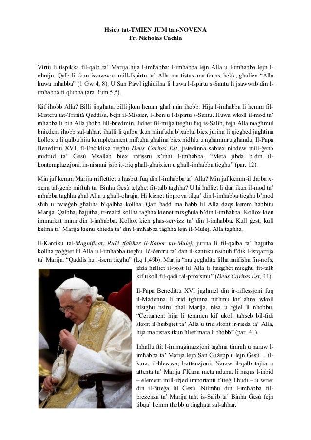 Ħsieb tat-TMIEN JUM tan-NOVENA Fr. Nicholas Cachia Virtù li tispikka fil-qalb ta' Marija hija l-imħabba: l-imħabba lejn Al...