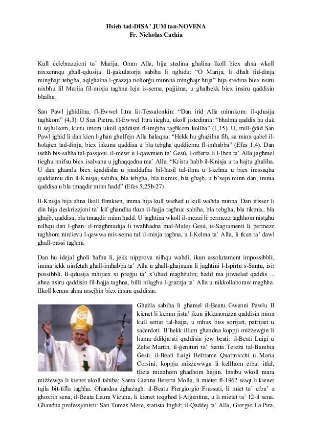 Ħsieb tad-DISA' JUM tan-NOVENA Fr. Nicholas Cachia Kull ċelebrazzjoni ta' Marija, Omm Alla, hija stedina għalina lkoll bie...