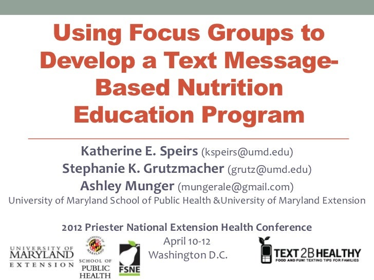 Using Focus Groups to      Develop a Text Message-          Based Nutrition        Education Program               Katheri...