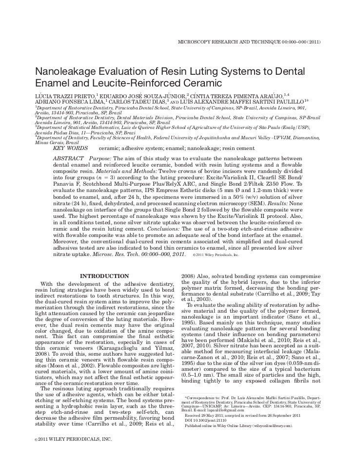 MICROSCOPY RESEARCH AND TECHNIQUE 00:000–000 (2011)Nanoleakage Evaluation of Resin Luting Systems to DentalEnamel and Leuc...