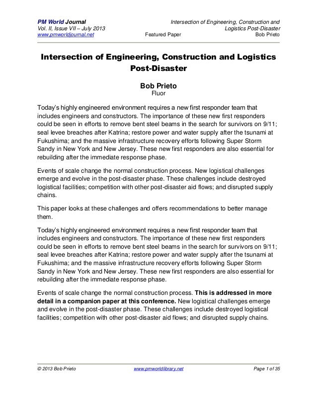 PM World Journal Intersection of Engineering, Construction and Vol. II, Issue VII – July 2013 Logistics Post-Disaster www....