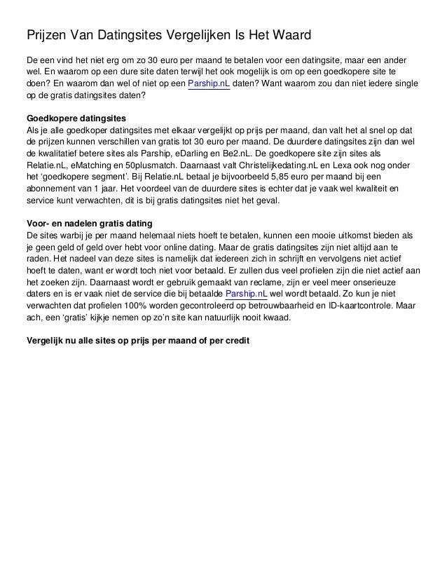 prijzen datingsites vergelijken Almere