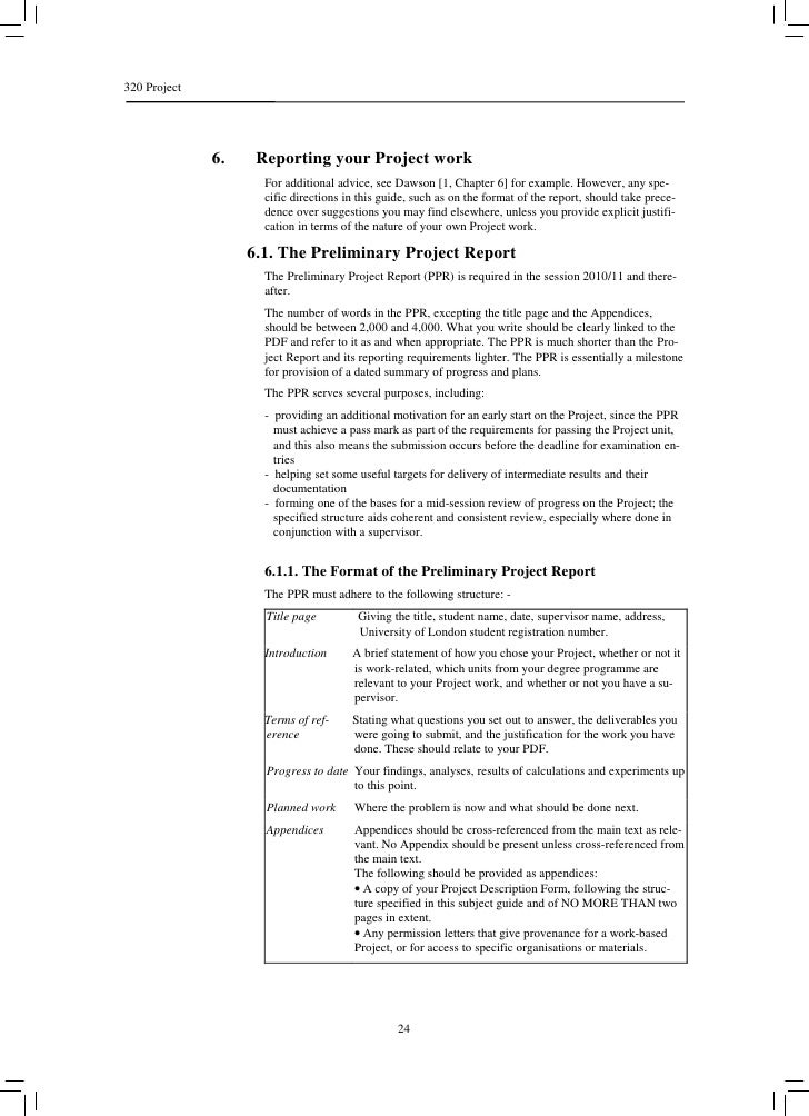 320 Project              6.    Reporting your Project work                     For additional advice, see Dawson [1, Chapt...