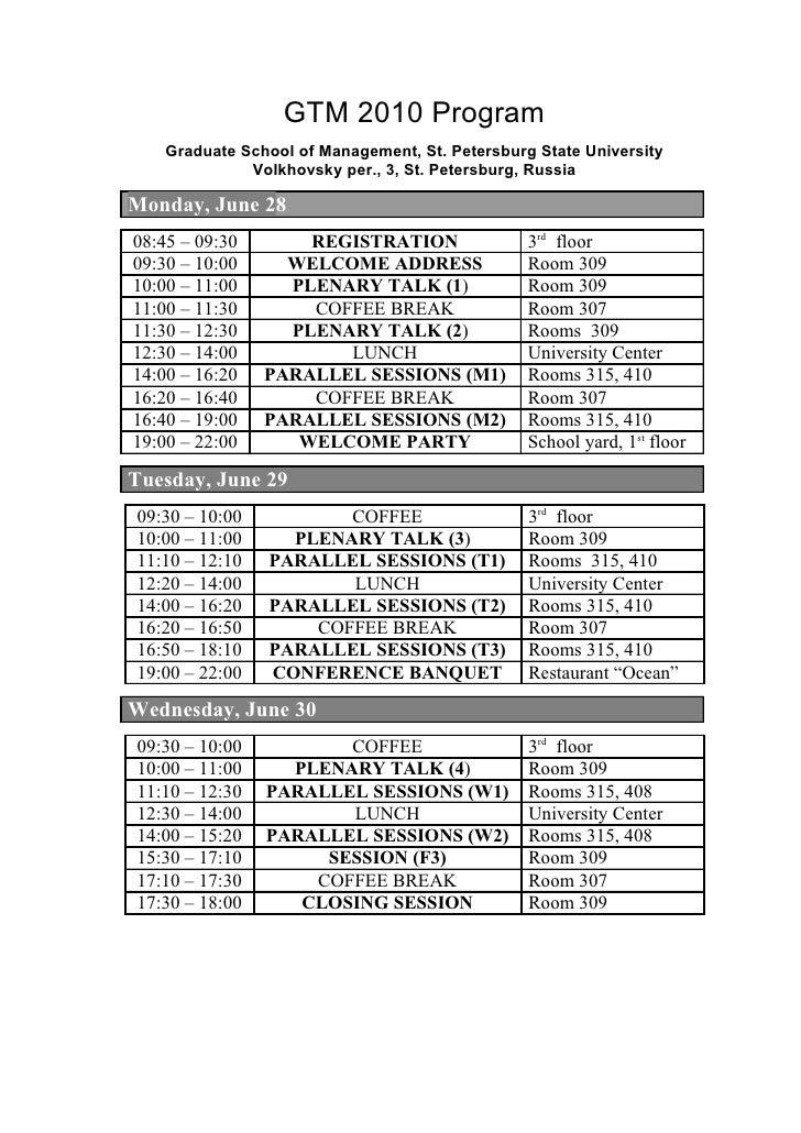 GTM 2010 Program