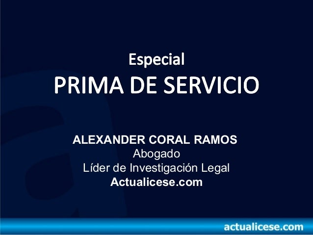 Prima de servicio especial 2013