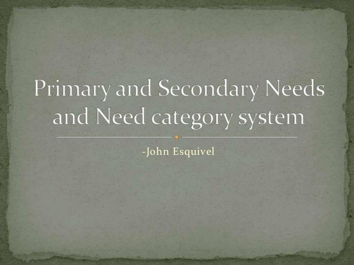 -John Esquivel<br />Primary and Secondary Needsand Need category system<br />