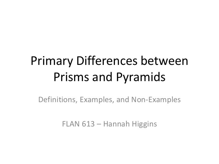 Primary Differences between Prisms and Pyramids<br />Definitions, Examples, and Non-Examples<br />FLAN 613 – Hannah Higgin...