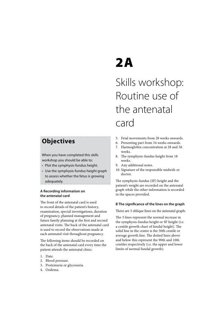 Primary Maternal Care: Skills workshop routine use of the antenatal card