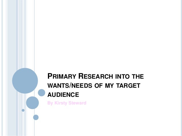 PRIMARY RESEARCH INTO THEWANTS/NEEDS OF MY TARGETAUDIENCEBy Kirsty Steward