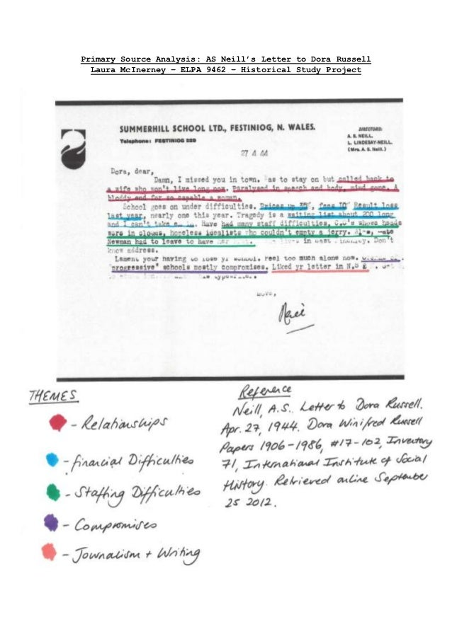 Primary Source Analysis: AS Neill's Letter to Dora Russell  Laura McInerney – ELPA 9462 – Historical Study Project