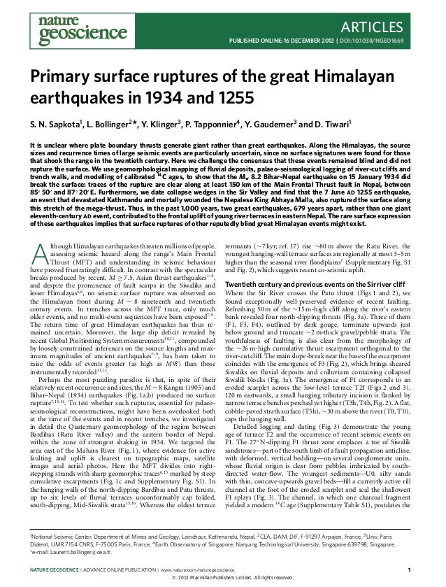 Primary surface ruptures of the great himalayan